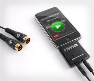 The MIDI Mobilizer plugs into the 30-pin connector of an iPhone or iPod Touch, then to a MIDI device (such as a keyboard or effects unit) via a Planet Waves cable
