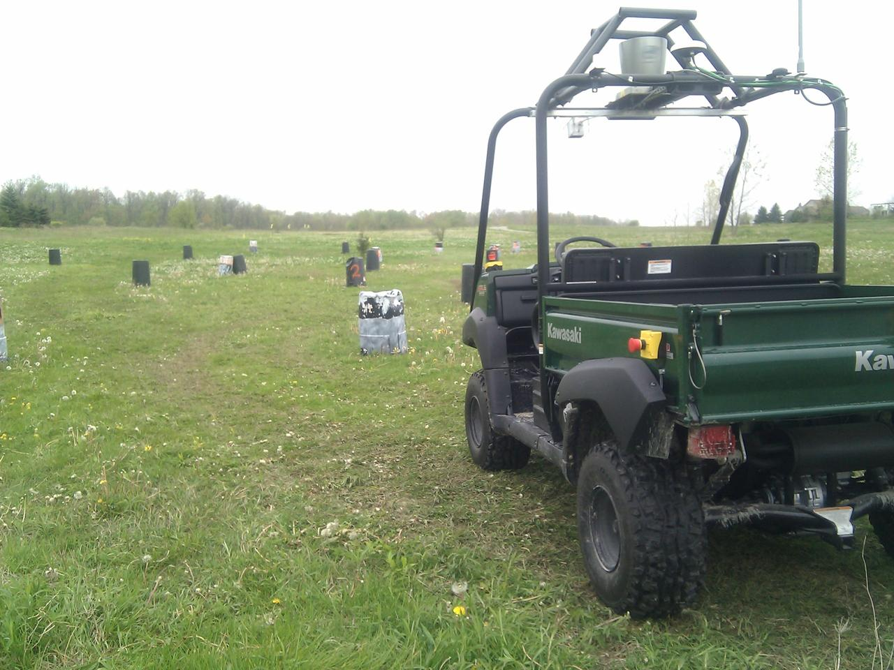 The highly modified Kawasaki 4010 Mule out on the obstacle-laden test range (Photo courtesy of Sterling Anderson)