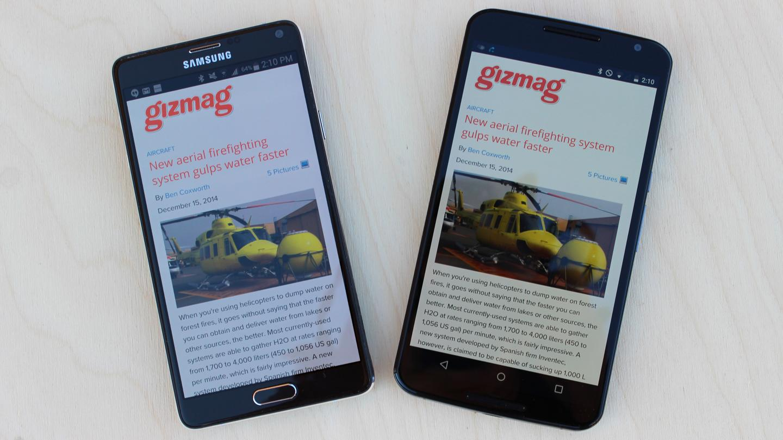 Samsung Galaxy Note 4 (left) with Google/Motorola Nexus 6 (Photo: Will Shanklin/Gizmag.com)