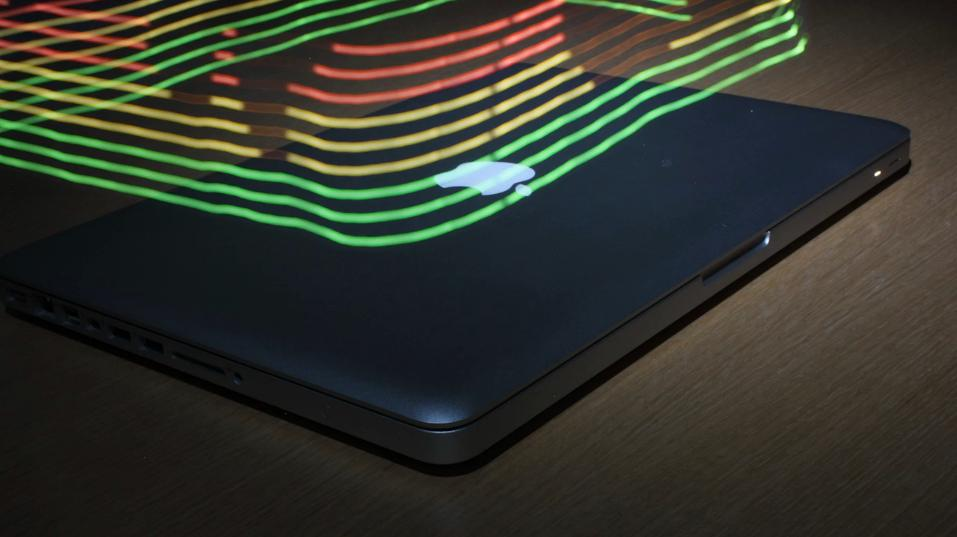 A MacBook's electromagnetic field brought to life (Video still: Luke Sturgeon and Shamik Ray)