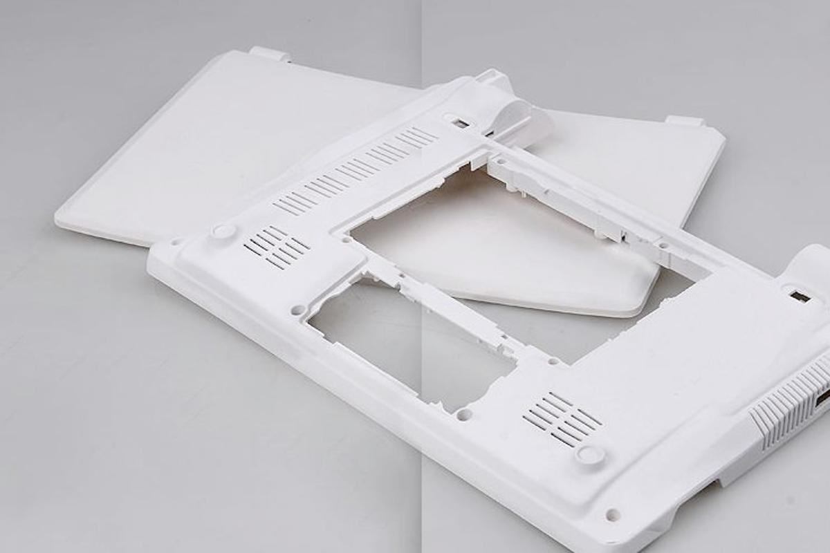 A laptop shell made from Paper PP Alloy, a new composite material made from recycled paper and polypropylene