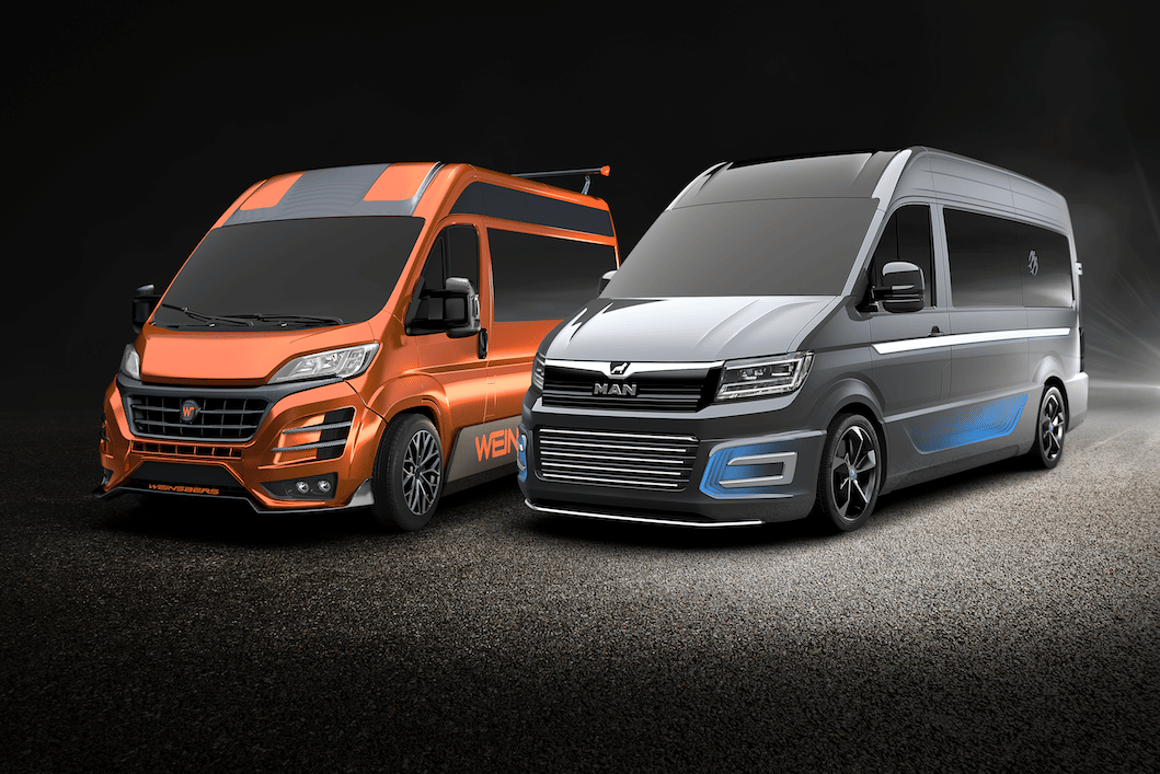 Knaus Tabbert sibling brands Weinsberg and Knaus show some sporty camper van concepts - the Weinsberg CUVolution is on the left, and the Knaus CUVision on the right