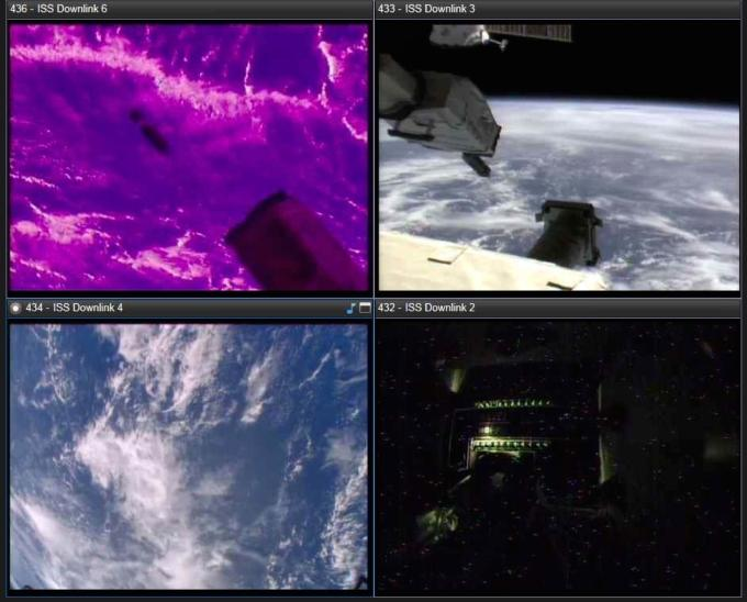 Different views of the A3R deploying from the International Space Station