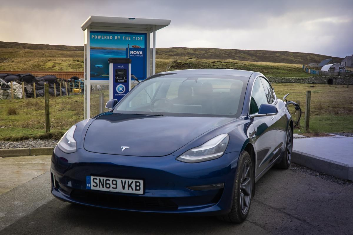 The EV charge point installed at Cullivoe harbor on the island of Yell gets its power from the Shetland Tidal Array
