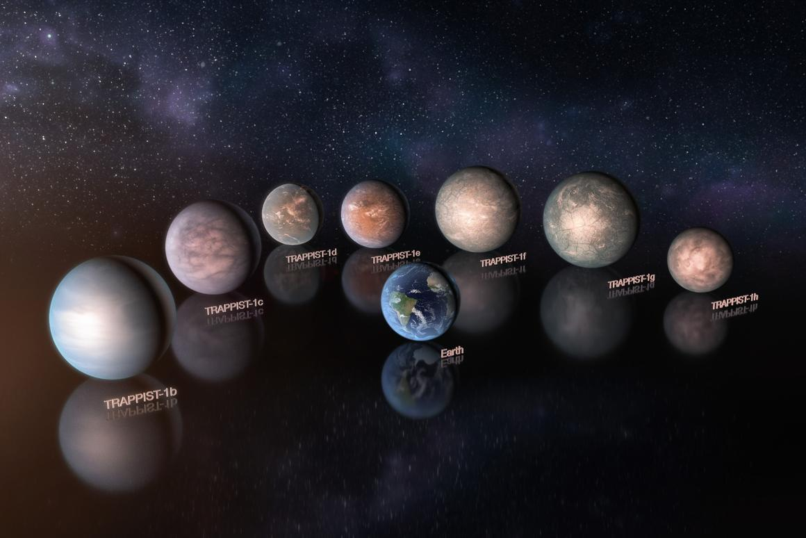 An artist's rendition, to scale, of how the TRAPPIST-1 planets would compare to Earth