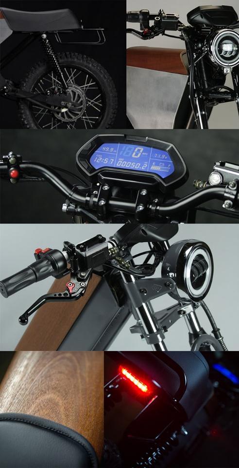 Onyx bike details, including headlight, dash, suspension and brake lights