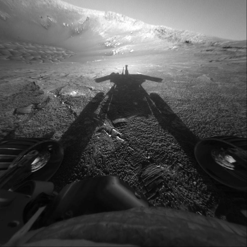 A photo ofNASA's Mars Exploration Rover Opportunity's shadow was taken on sol 180 (July 26, 2004) by the rover's front hazard-avoidance camera