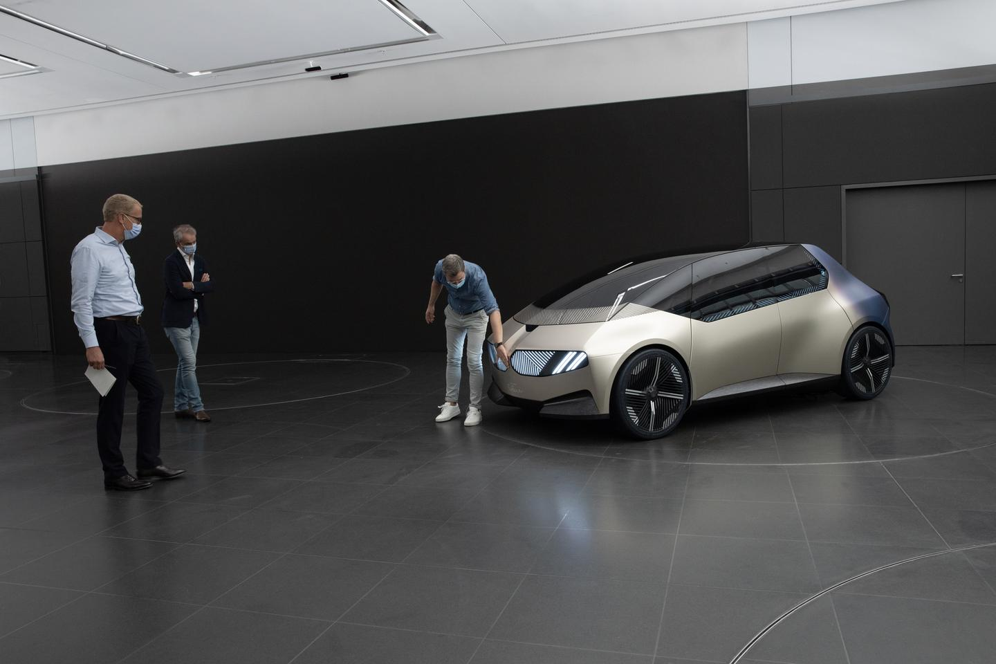 The physical BMW i Vision Circular mock-up is made ready for the show