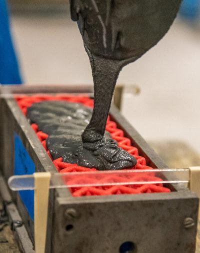 The researchers experimented with variations of their polymer lattice reinforcement concrete recipe