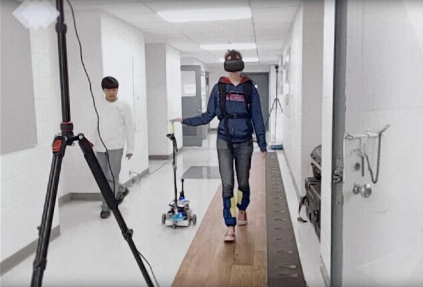 Test subjectswore a virtual reality headset which interfered with their gait