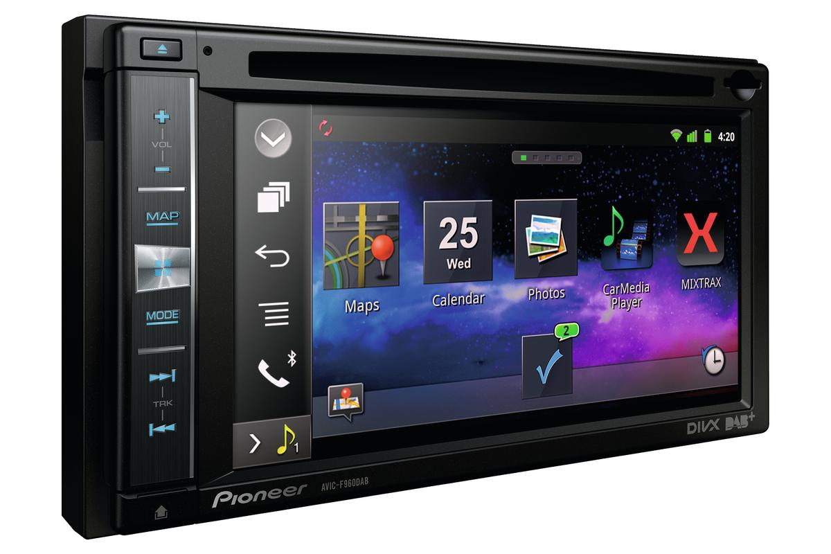 The new Pioneer devices do away with Bluetooth connections and link the iPhone with touchscreen display via cable
