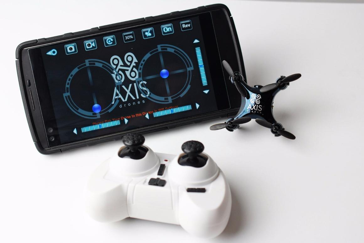 The Vidius can be controlled by either an included 2.4 gHz controller or an Android or Apple device via the companion app