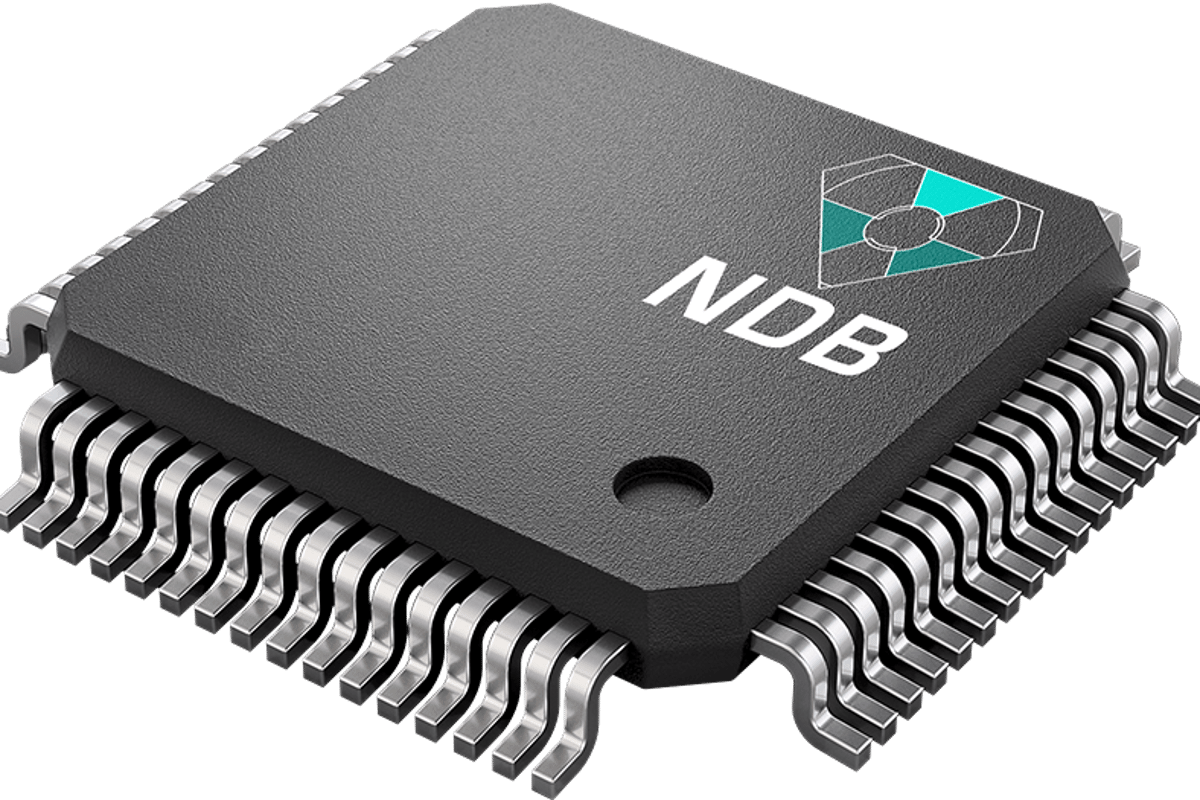 NDB makes remarkable claims about its self-charging nano-diamond battery, here seen mocked up as a circuit board component