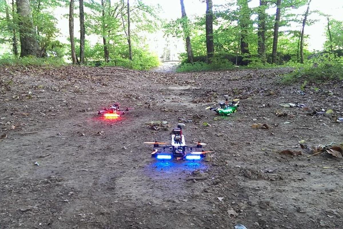 Like a scene out of Star Wars, French drone enthusiasts raced their vehicles through the forest in a test of their piloting ability