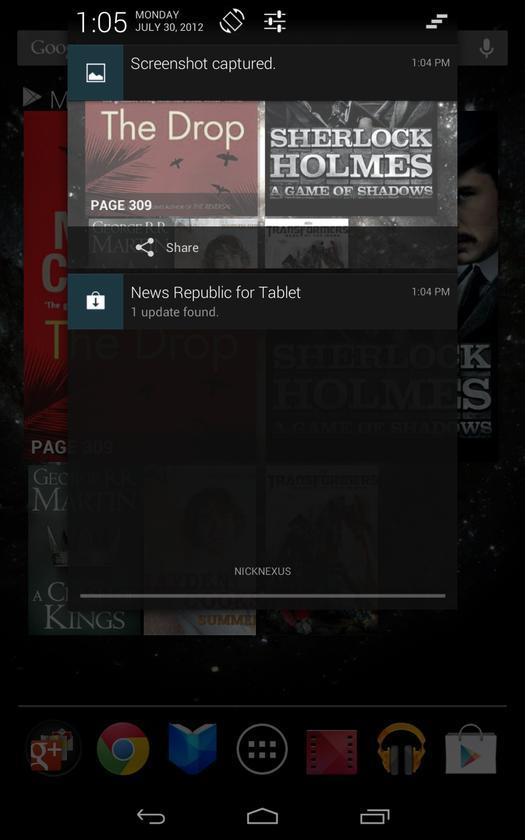 Nexus 7 screenshot - expanded Notifications