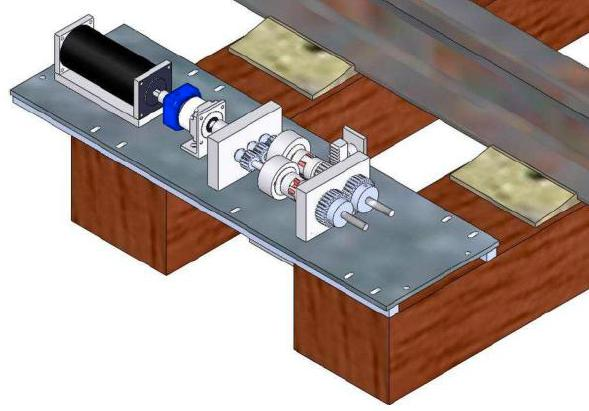 In one of the systems, the vertical flexion of the rail moves an attached ratcheting mechanism that turns a planetary gearbox, which in turn drives a generator