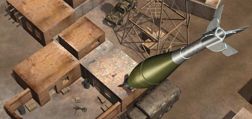 Illustration depicting an XM395 Accelerated Precision Mortar Initiative round closing in on a target (Image: U.S. Army)