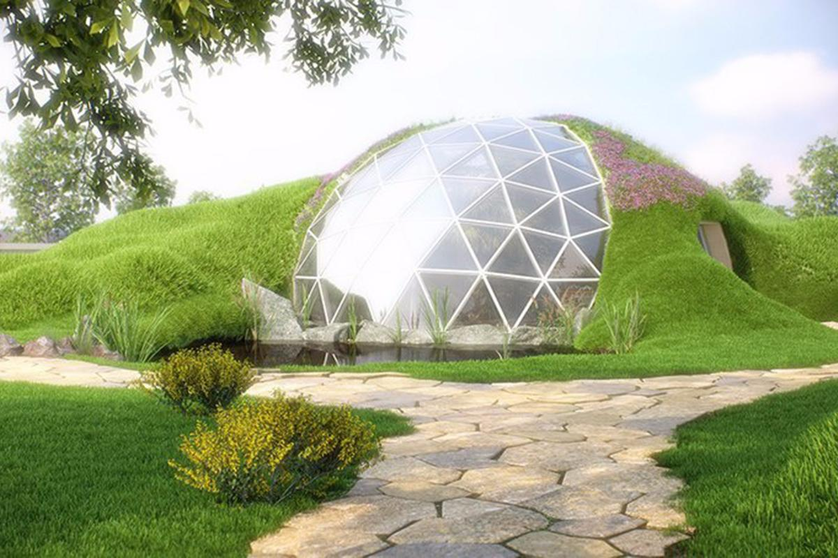 Biodomes canpart-bury the dome to create an earth-sheltered home