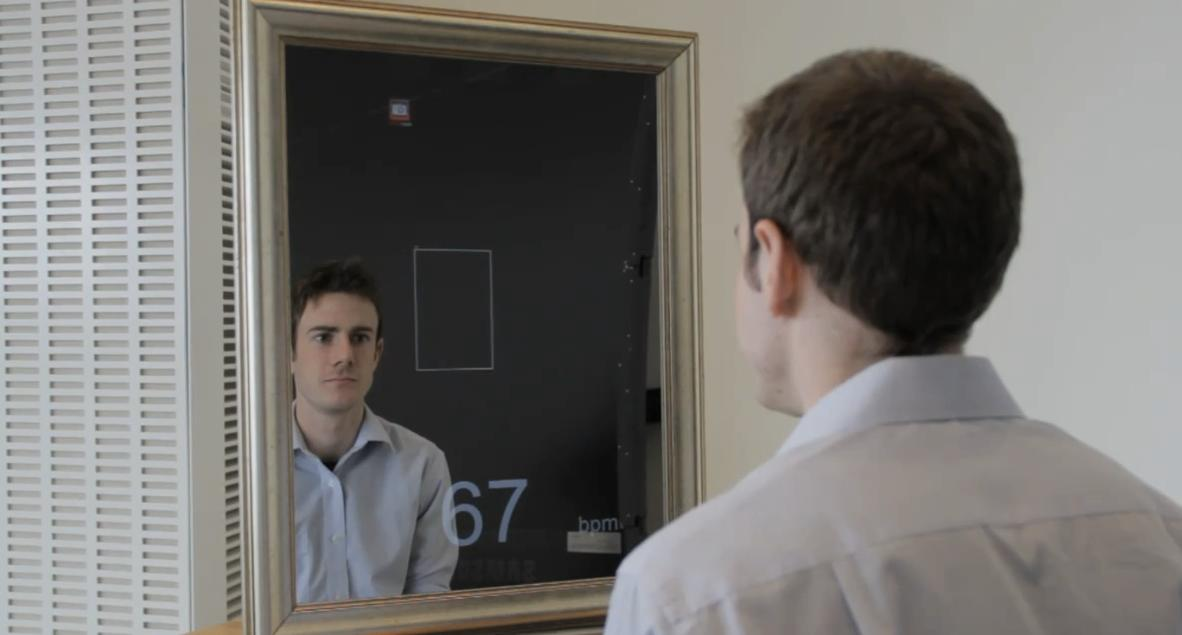 MIT's health monitoring mirror (Credit: Melanie Gonick)