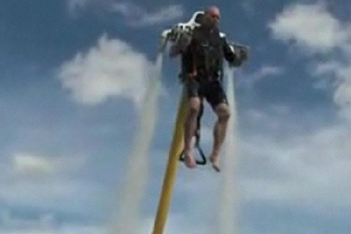 The water-propelled jetpack takes flight