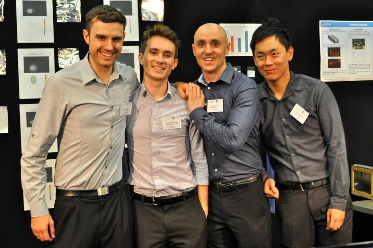 University of Adelaide students Michael Watchman, Harrison Evans, Mark Padovan and Anthony Liew have come up with a low-cost water purification system made from chip packets
