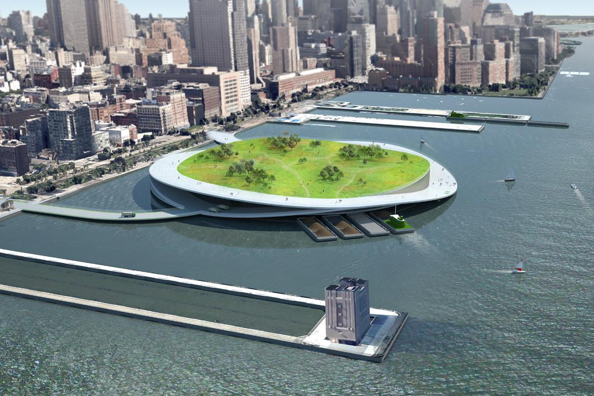 Present Architecture has proposed a network of composting, green space islands for New York