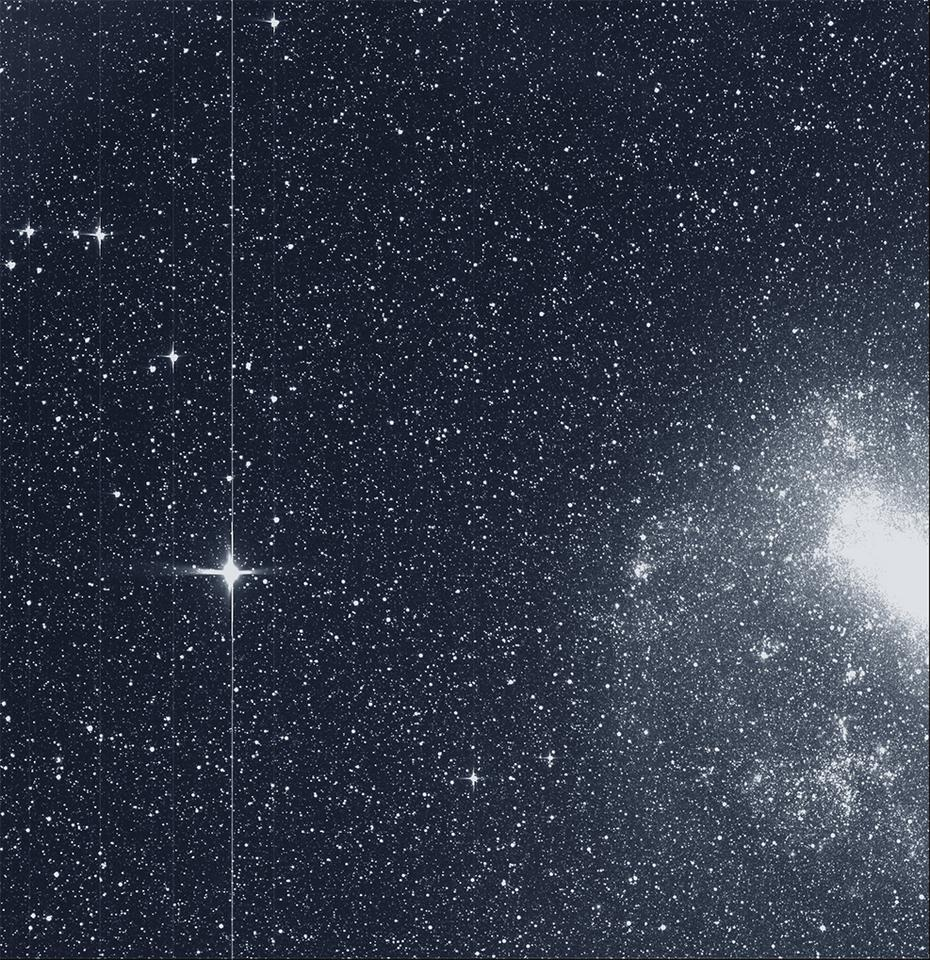 One of the panels making up the first science image captured by NASA's TESS telescope. The image shows the Large Magellanic Cloud (right) and the bright star R Doradus (left)
