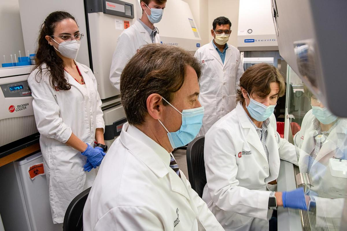 A neurological research team, led by Benjamin Segal (front), has discovered a type of immune cell that could reverse neurological damage previously thought to be permanent