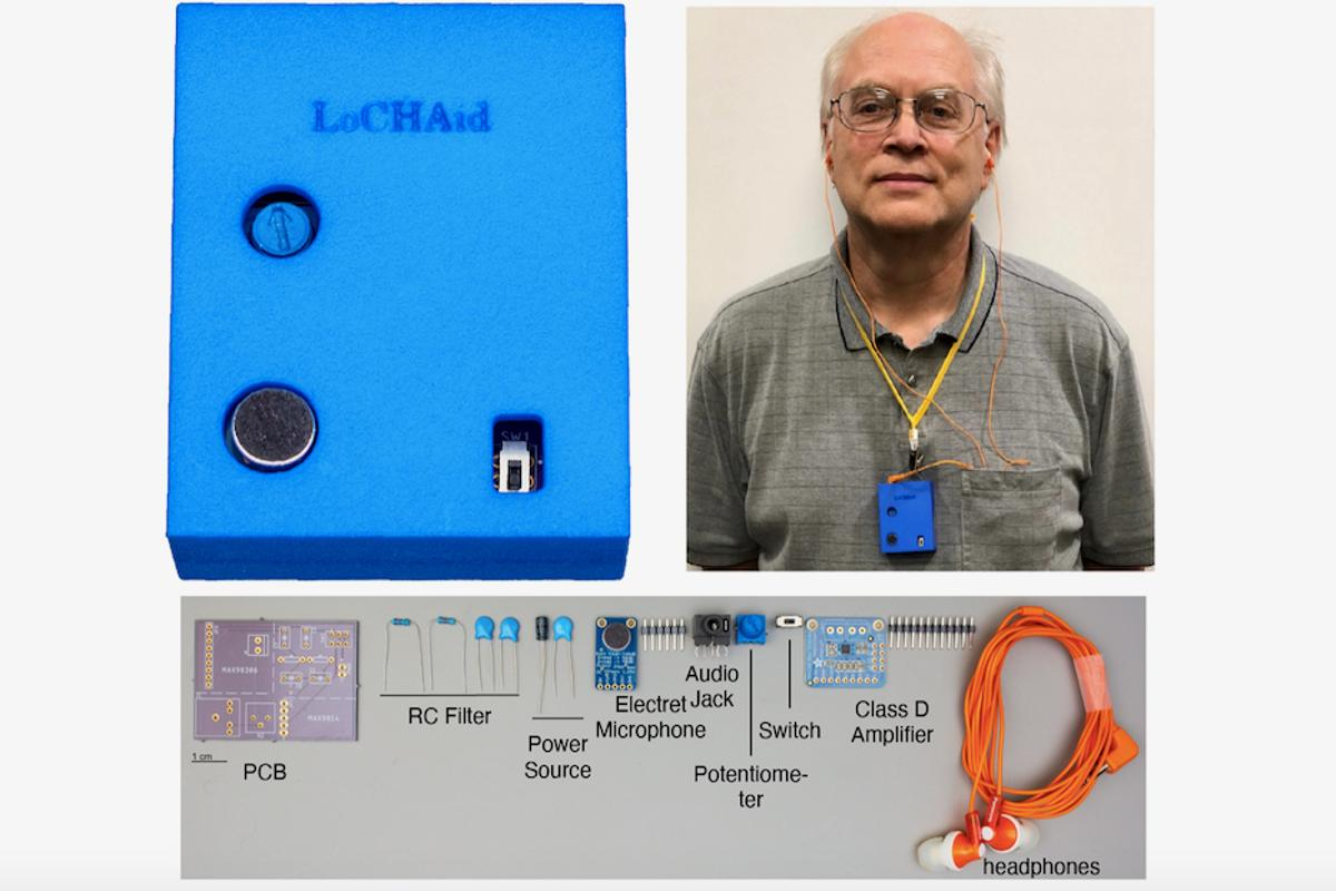 The prototype LoCHAid hearing aid, with its components displayed below