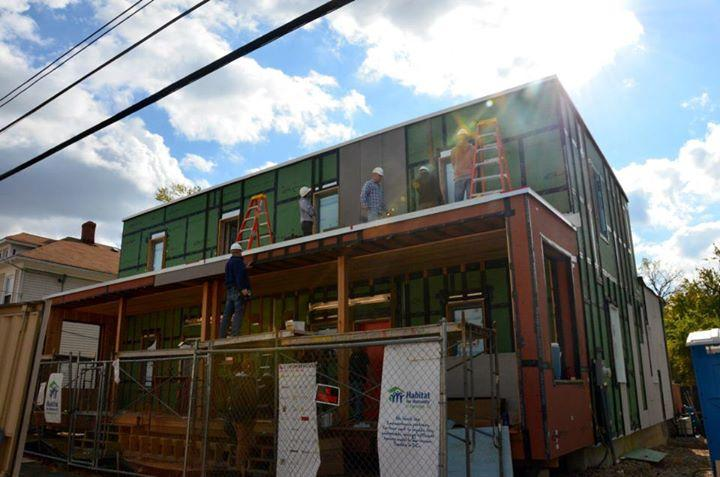 The Passive House model of Empowerhouse under construction in Washington, DC (Photo: Habitat for Humanity)