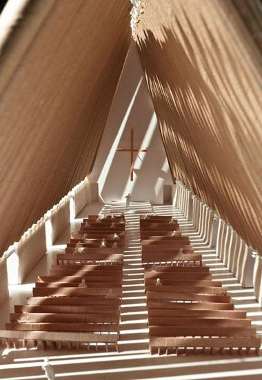 Ninety-eight cardboard tubes form the cathedral's structural beams, and shipping containers also figure in the cathedral's construction (Photo: Shigeru Ban Architects)