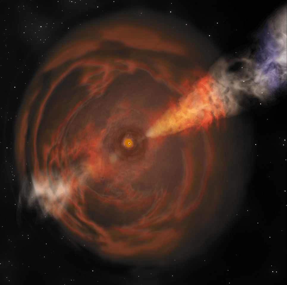 An artist's illustration of a Fast Blue Optical Transient (FBOT), a newly-described type of celestial event