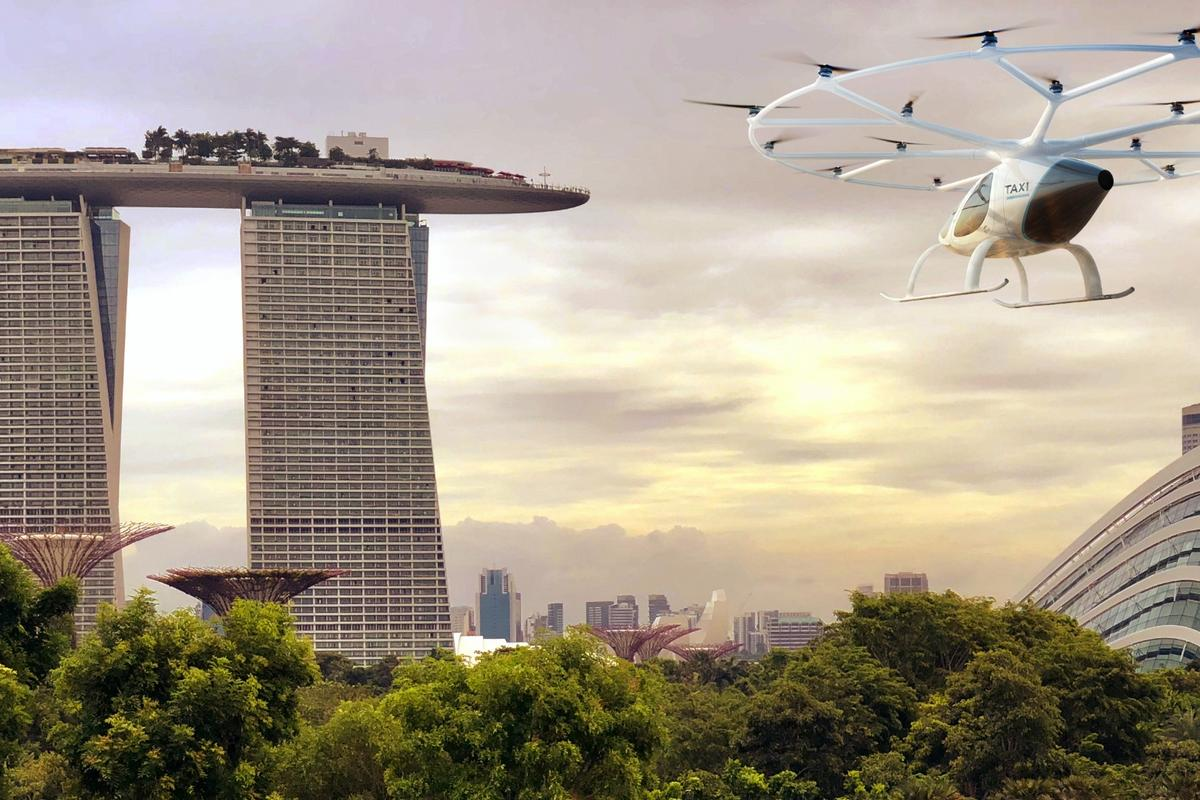 The Volocopter has been flight tested over Singapore, and the enterprise plans to go commercial by 2023