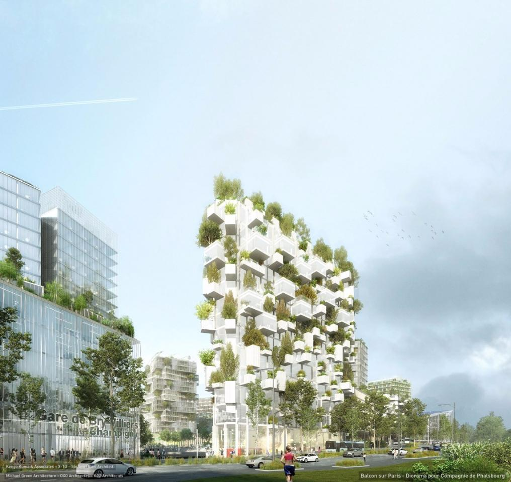 The entirely wooden Forêt Blanche tower will stand 54 meters (177 ft) tall