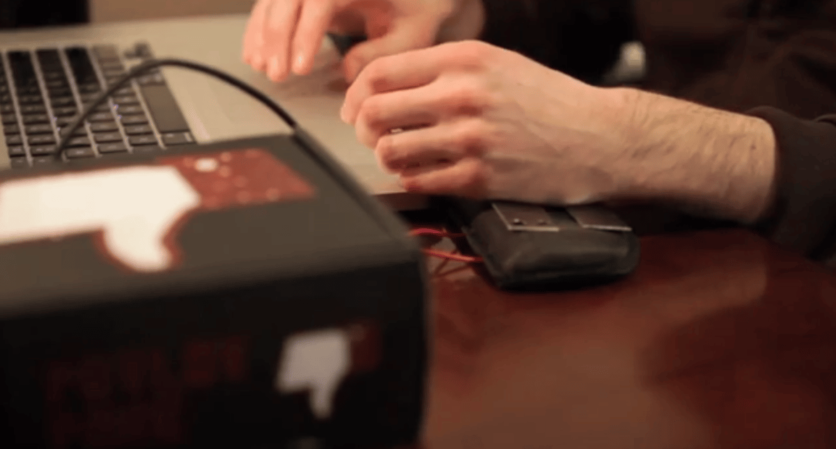 The Pavlov Poke delivers an electric shock via electrodes in the keyboard pad