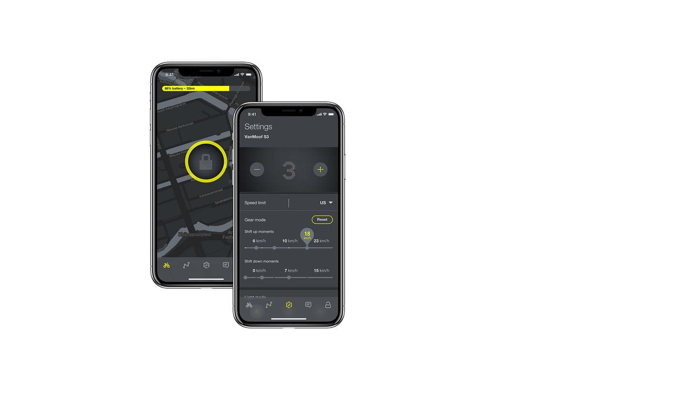 The Vanmoof app features include rider recognition technology, location tracking, remote lock and more