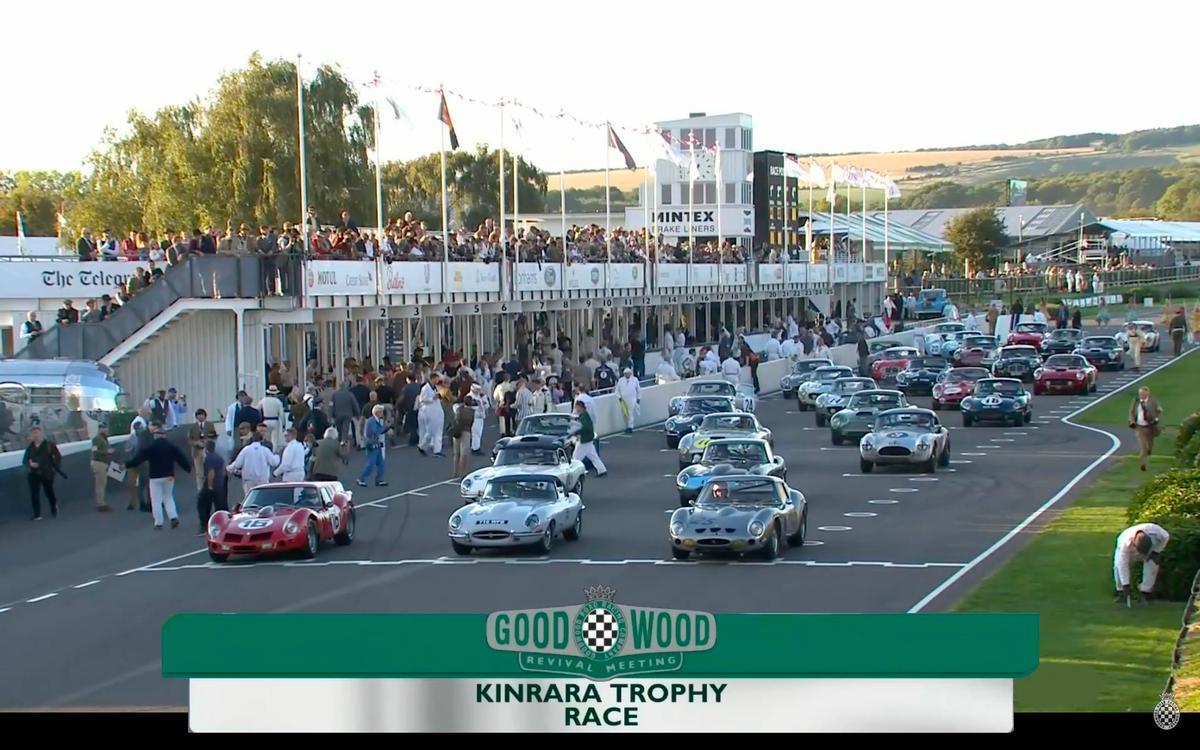 TheKinrara Trophyrace at Goodwood Revivalincludeda Ferrari 250 GTO, aneven rarer Ferrari 330 GTO, nine Ferrari 250 GT SWBs, four Aston Martin DB4 GTs, a pair of Austin Healey 3000s, two AC Cobras, and eight Jaguar E-types.