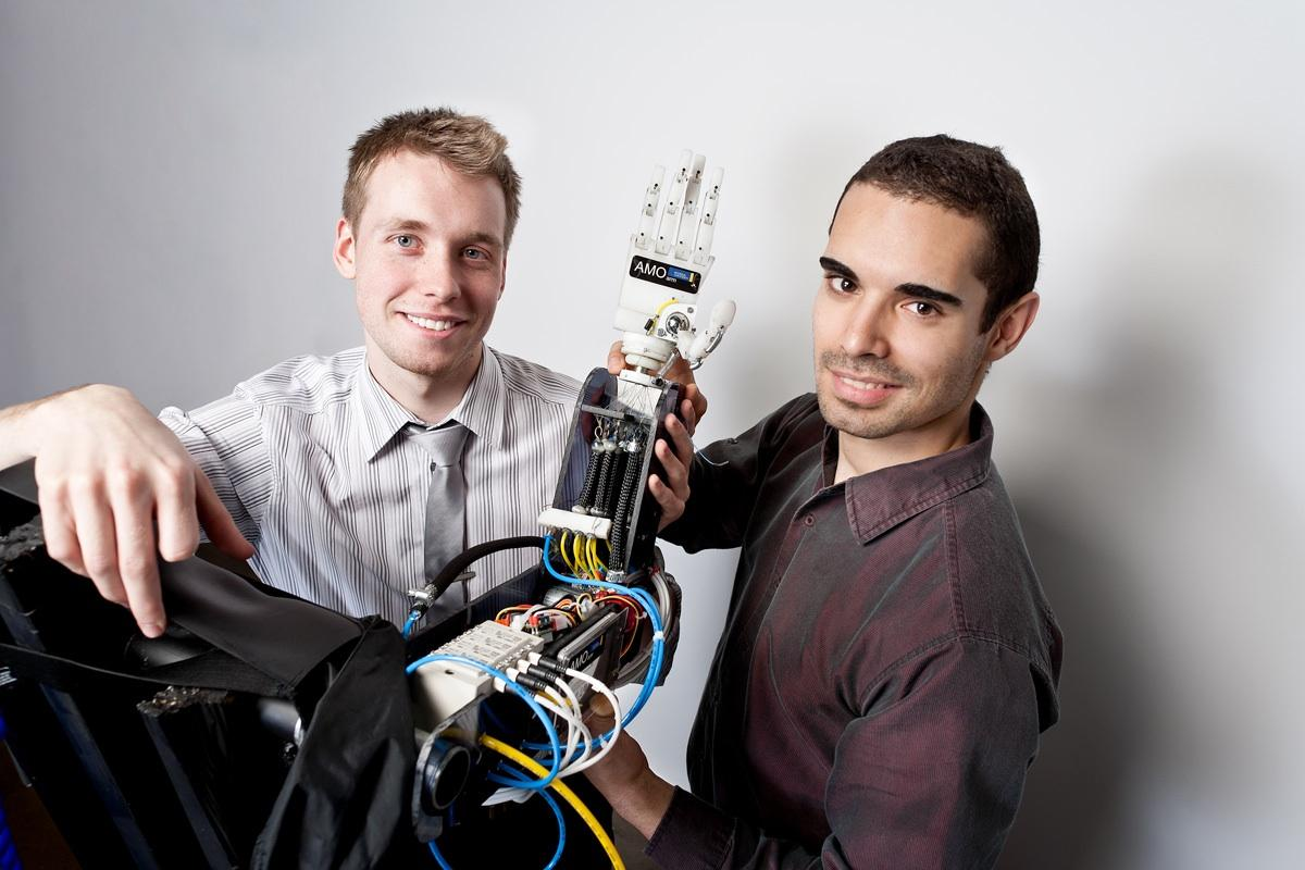 Michal Prywata and Thiago Caires with their AMO Arm(All photos courtesy Ryerson University)