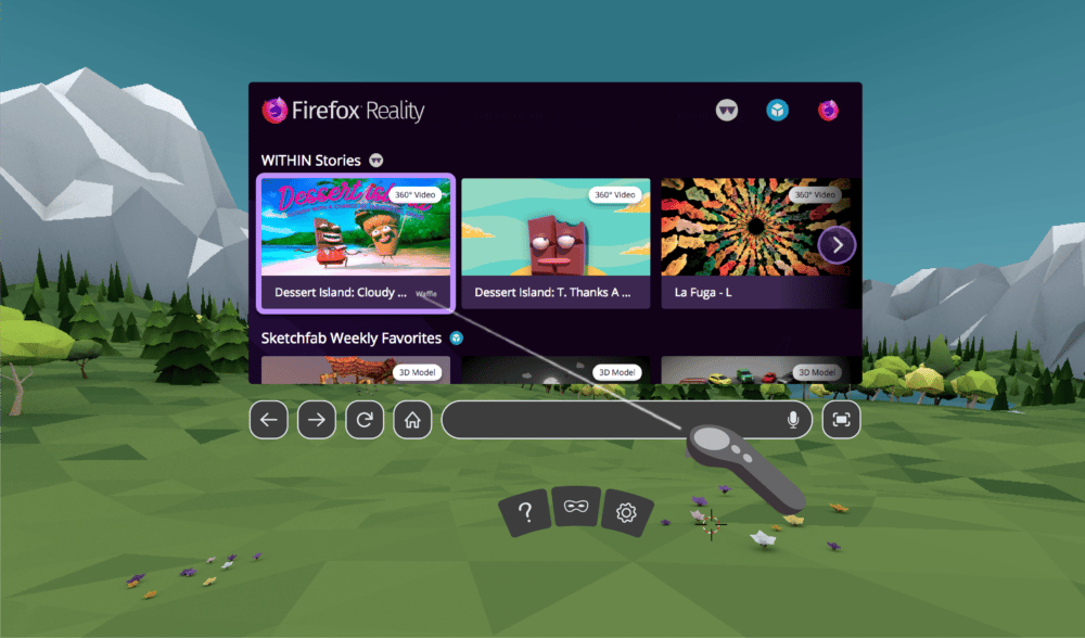 Firefox Reality puts a feed of VR and AR content front and center on its home screen