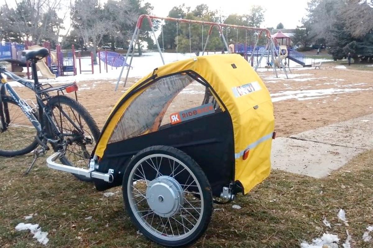 The electric motor-powered Ridekick Child Trailer