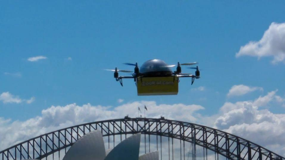 A Flirtey UAV near the Sydney Opera House