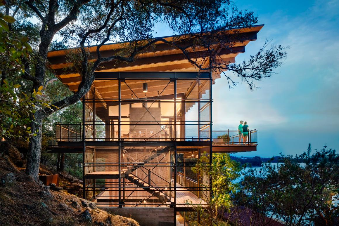 The thee-story Blue Lake Retreat,by Lake Flato Architects, was designed for a client who spent childhood summers on the lake with her architect father