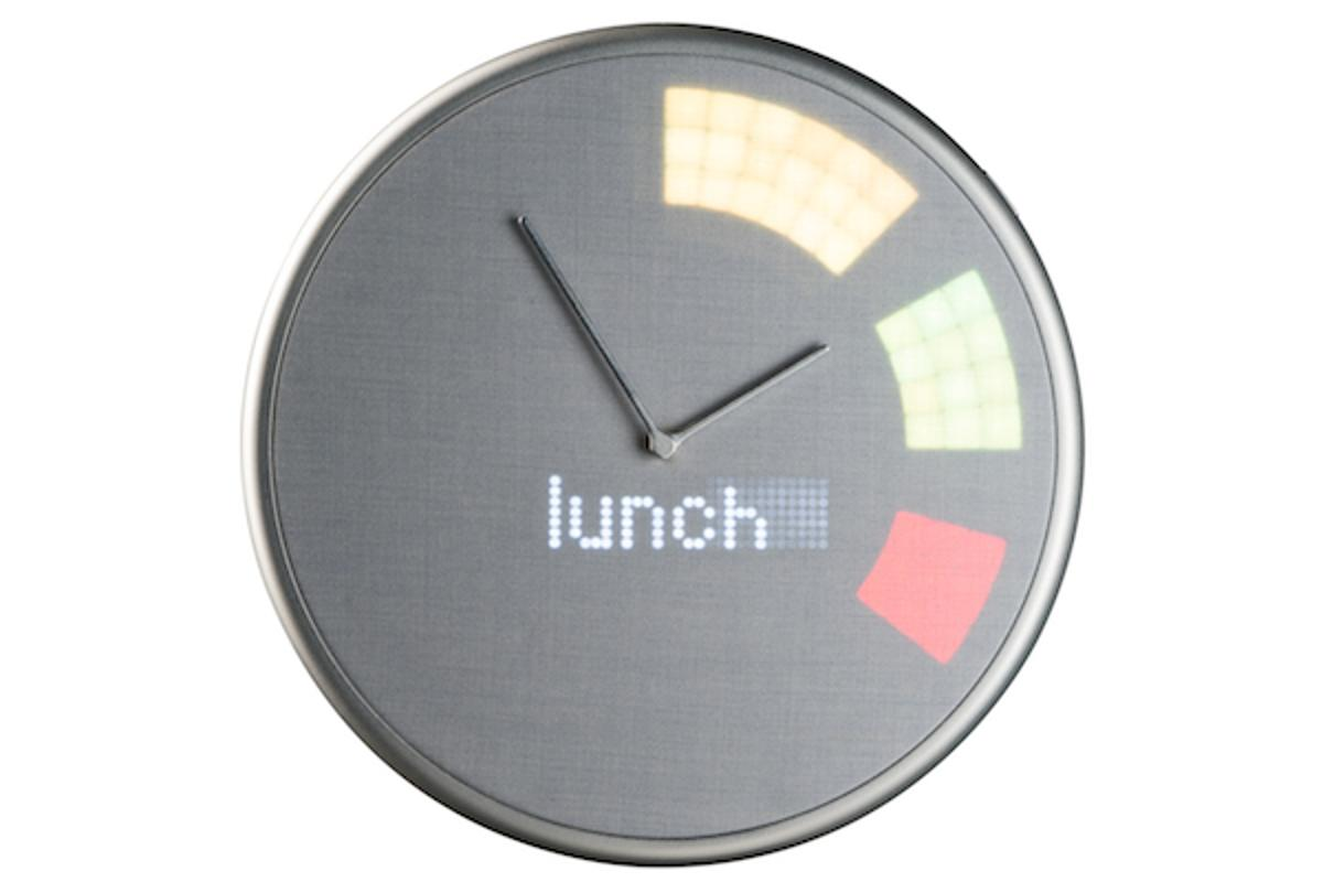 The Glance Clock syncs to a smartphone and displays notifications on its face