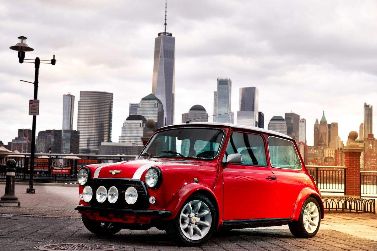All-electric powertrain, totally classic resto Cooper body. It's Mini's one-ff classic Mini Electric, preparing to debut at the New York auto show.