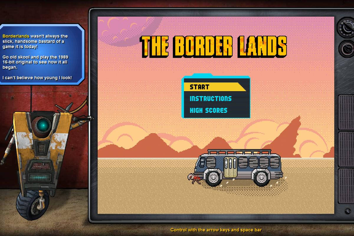 The Border Lands start screen will be familiar to anyone who played the real Borderlands