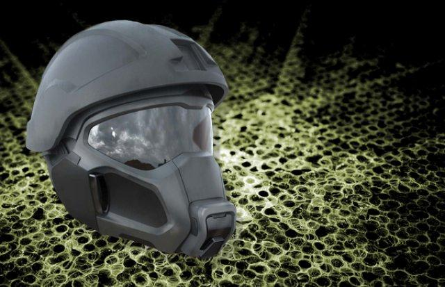 Army researchers envision a fan embedded within the mask's filtration system that uses less power, is lighter and is far less bulky than conventional respirators (Image: U.S. Army illustration)