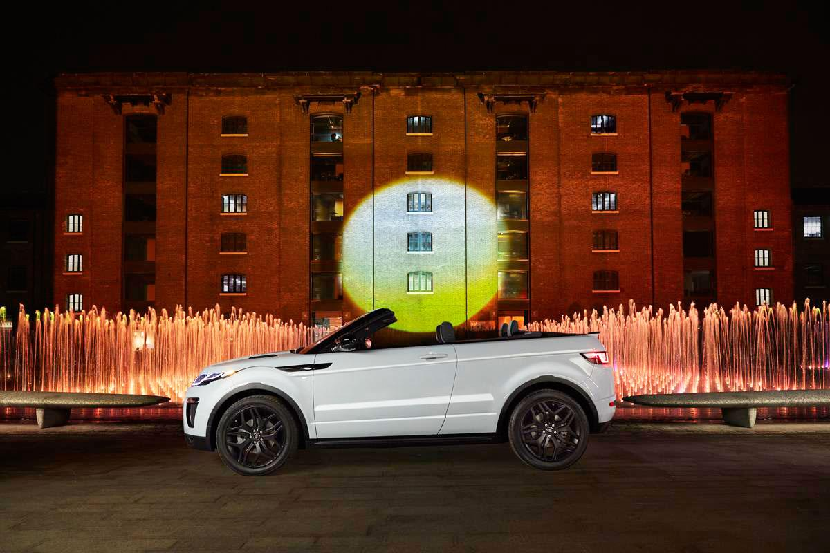 Jaguar Land Rover has unveiled the Range Rover Evoque Convertible in an artificial sunrise ceremony in London
