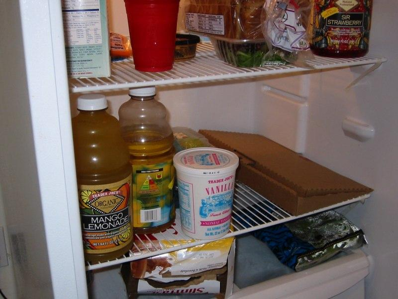 Green Box folded up to act as a storage container and put in the fridge