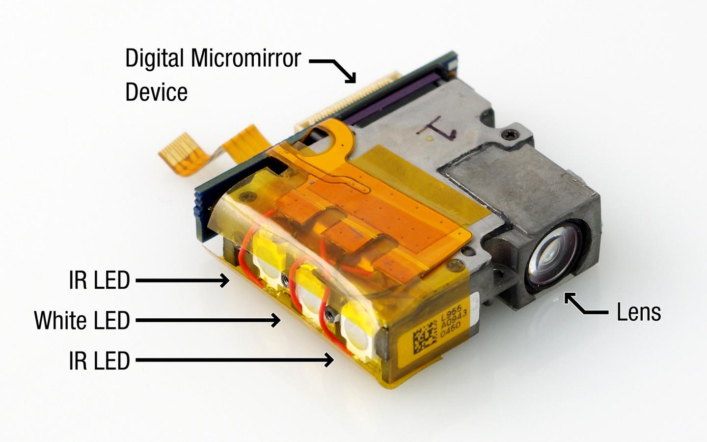 The SidebySide pico projector, which is part of the handheld device (Photo: Disney Research)