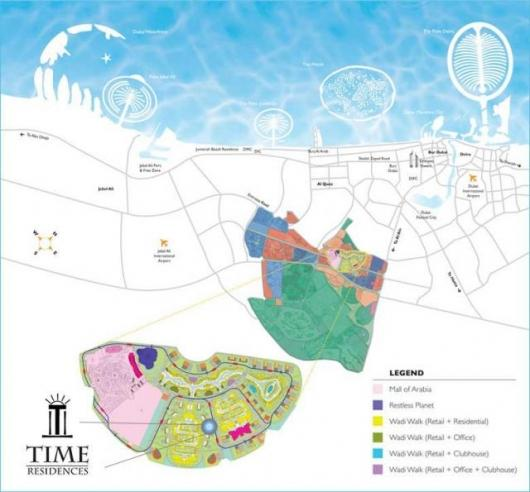 The map shows where the new project will be in relation to some of Dubai's other landmark projects
